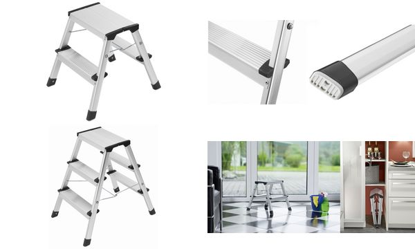 hailo alu doppelstufen klapptritt l90 stepke 2 x 3 stufen ebay. Black Bedroom Furniture Sets. Home Design Ideas