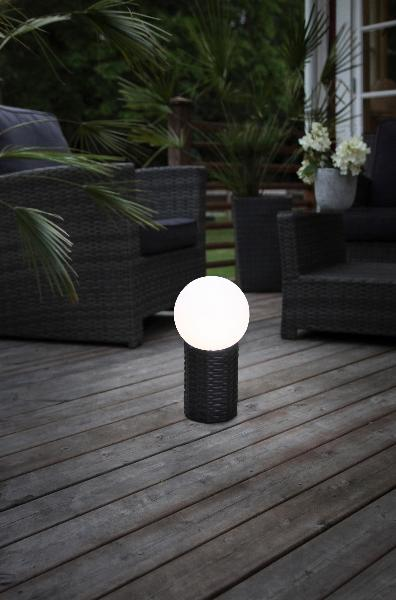 led solar kugel gartenleuchte gartenlampe kugelform terrasse rattan leuchtkugel ebay. Black Bedroom Furniture Sets. Home Design Ideas