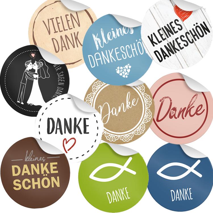 4cm Geschenk Aufkleber runde Spruch Etiketten 24x Sticker Viel Glück Motiv 13