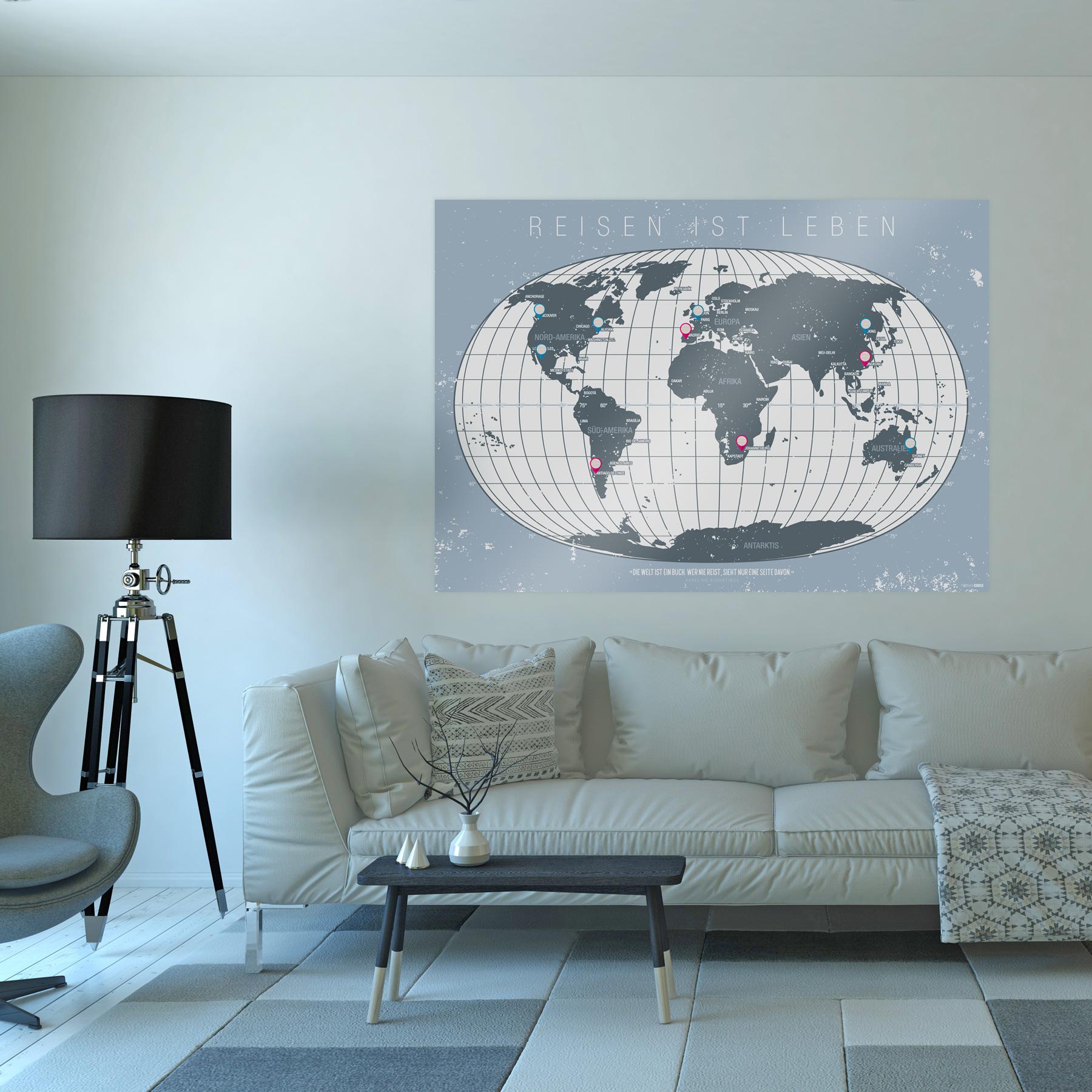 Poster Weltkarte Reiseziele DIN A0 250 g mit Schutzlack ...