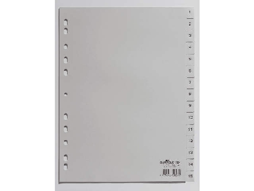 DURABLE Kunststoff-Register, Zahlen, A4, 15-teilig, 1 - 15
