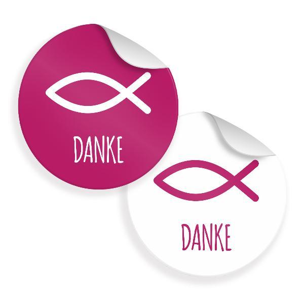 24x Sticker Fisch Danke Motiv 34 4cm Aufkleber Taufe