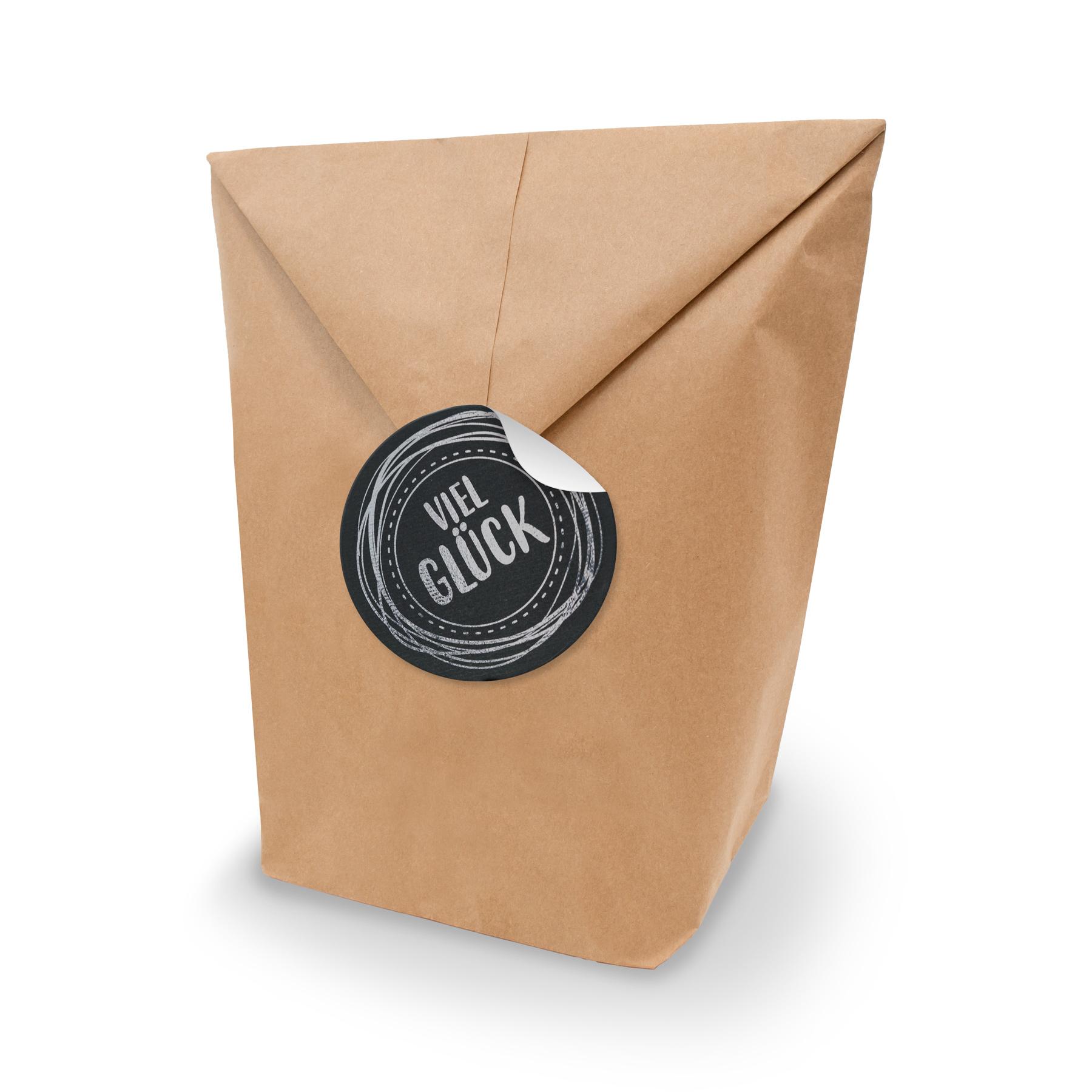 SET Viel Glück 10x Geschenktüten XL Kraftpapier + Aufkle...