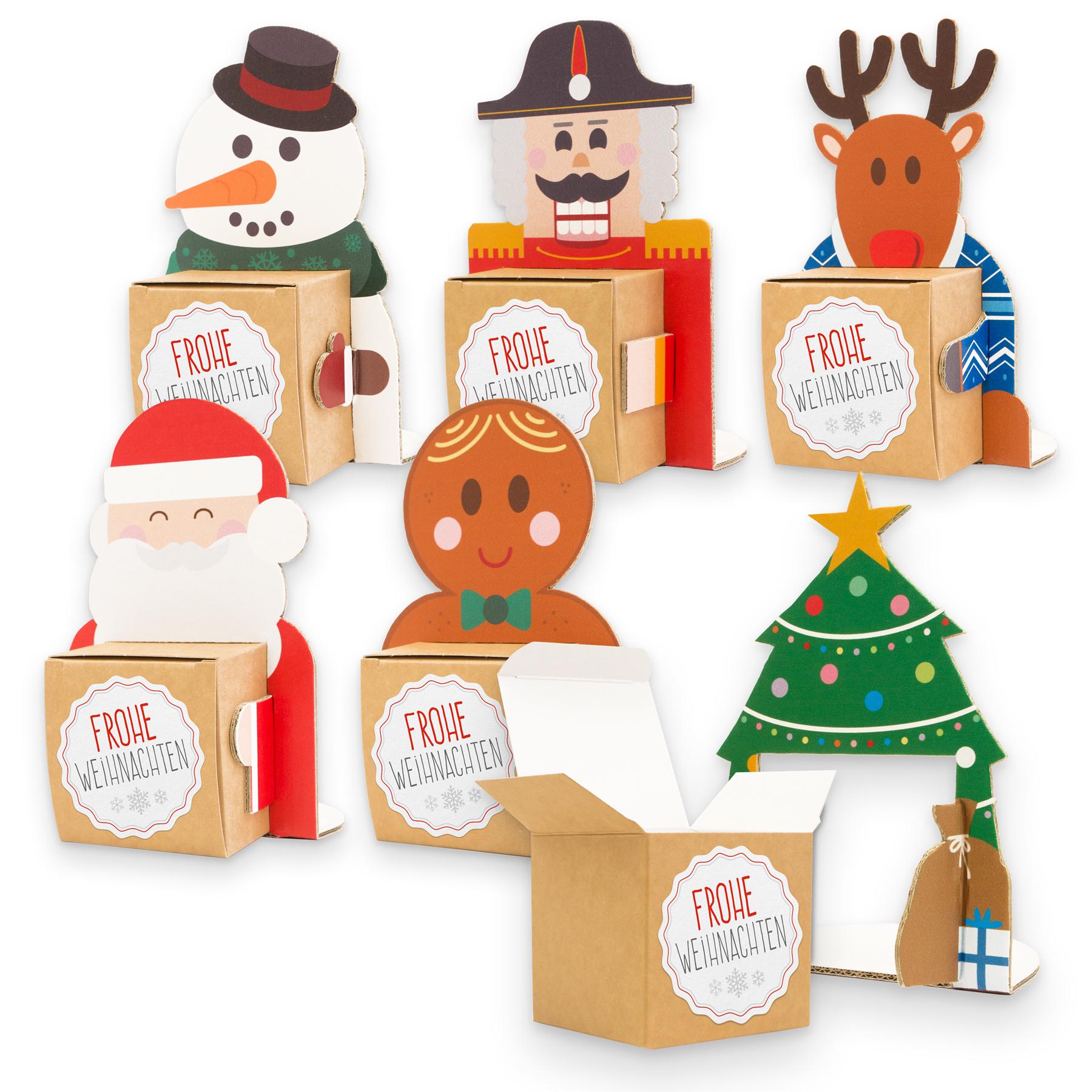 itenga Weihnachtsbande 6x Figuren zum Aufstellen + 6x Ka...