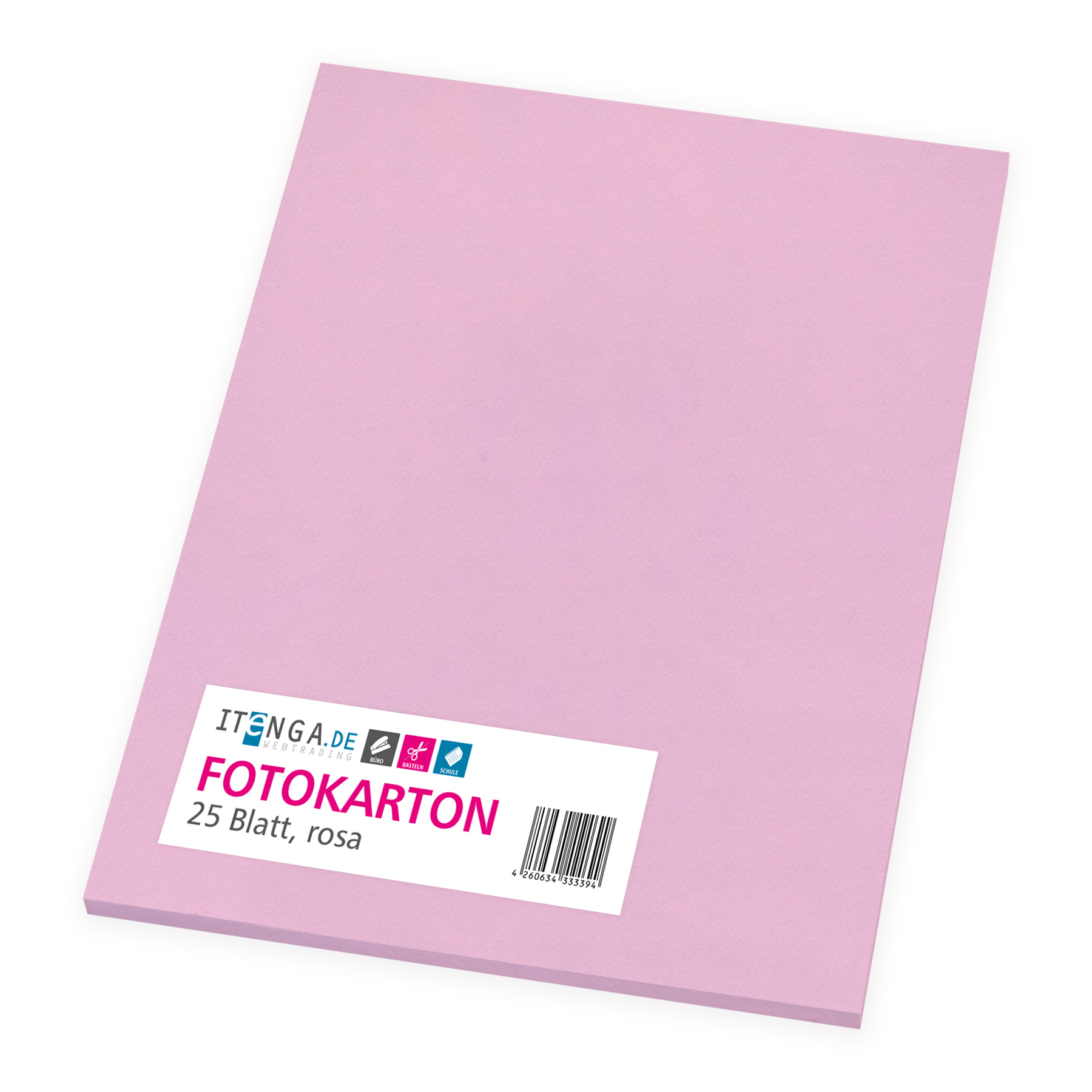 itenga Fotokarton - A4 300 g/qm rosa 25 Blatt