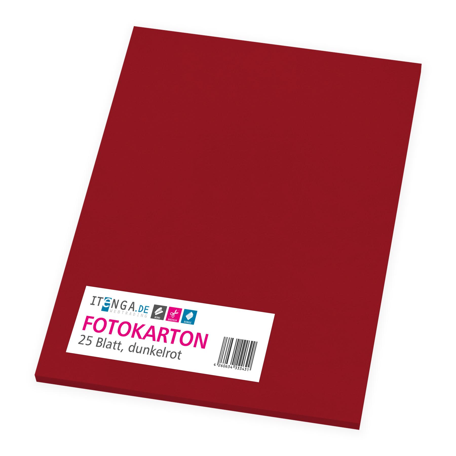 itenga Fotokarton - A4 300 g/qm dunkelrot 25 Blatt