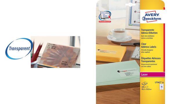 AVERY Zweckform Transparente Adress-Etiketten, 38,1 x 21...