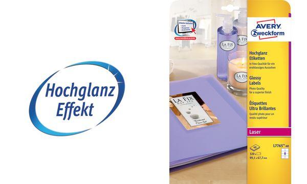 AVERY Zweckform Hochglanz-Foto-Etiketten, 99,1 x 67,7 mm