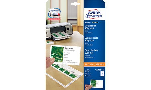 AVERY Zweckform Quick & Clean Visitenkarten, weiß, 200 g/qm