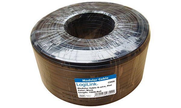 LogiLink Telefonkabel, 100 m, 6-adrig, flach, schwarz