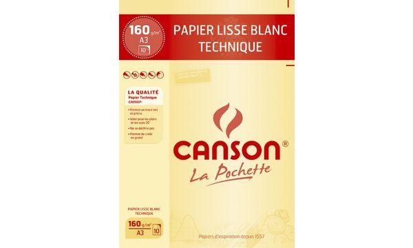 CANSON technisches Zeichenpapier, DIN A3, 160 g/qm, weiß