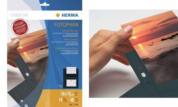 HERMA Fotophan Sichthüllen DIN A4, für Fotos 9 x 13 cm,quer