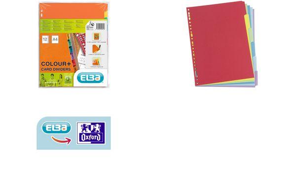 ELBA Karton-Register, blanko, DIN A4, farbig, 6-teilig