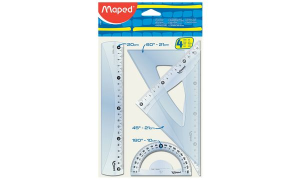 Maped Geometrie-Set Medium Start 242, 4-teilig, transparent