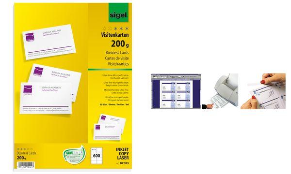 sigel Visitenkarten, 85 x 55 mm, 185 g/qm, hochweiß