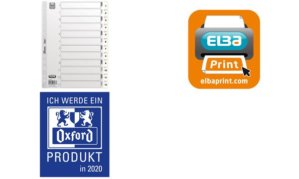 Oxford Kunststoff-Register, Zahlen, DIN A4, weiß, 10-teilig
