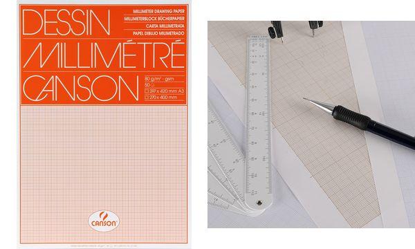 CANSON Millimeterpapier, 650 x 500 mm, 90 g/qm