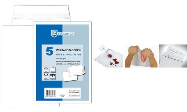 SECURITEX Versandtasche, B4, weiß, ohne Fenster, 130 g/qm