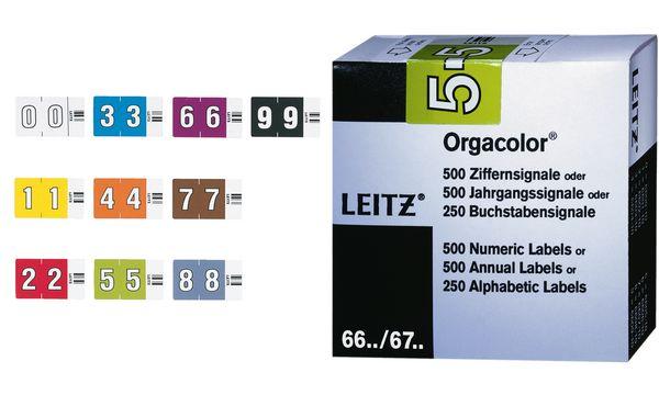 LEITZ Ziffernsignal Orgacolor 0, auf Rolle, weiß