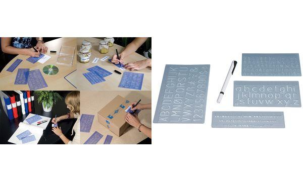WEDO Schriftschablonen-Set, Schrifthöhen: 5 mm, 10 mm, 2...