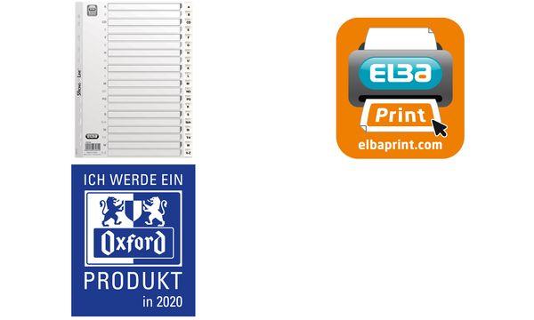 ELBA Kunststoff-Register, A-Z, DIN A4, weiß, 20-teilig, ...