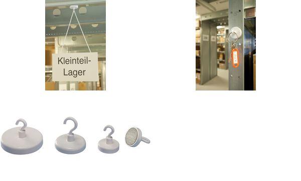magnetoplan Hakenmagnet, weiß, Durchmesser: 25 mm