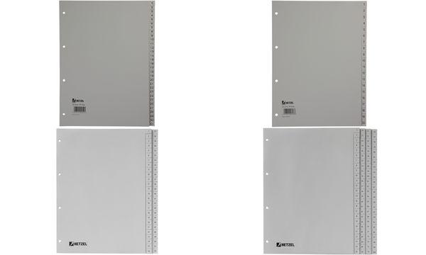 HETZEL Kunststoff-Register, Zahlen, A4, 1-100, PP, grau