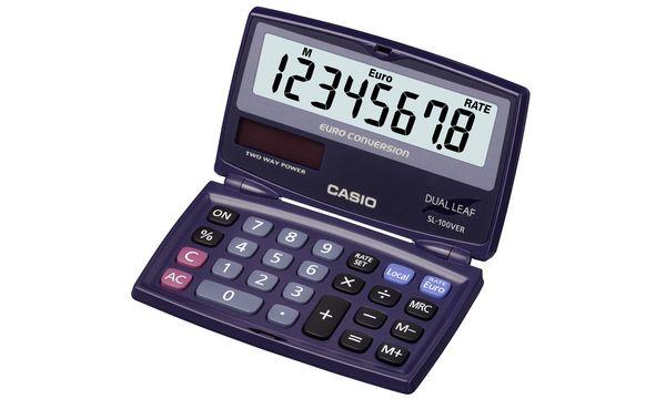 CASIO Taschenrechner SL-100 VER, Solar-/ Batteriebetrieb