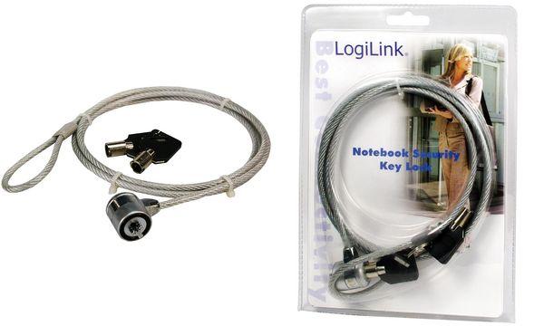 LogiLink Notebookschloss mit Schlüsselschloss, 2 Schlüssel