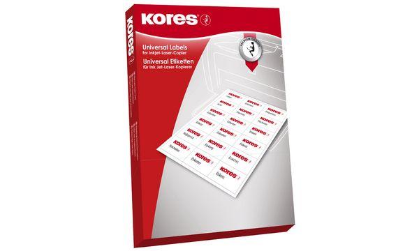 Kores Universal-Etiketten, 70 x 42,3 mm, gelb, 100 Blatt