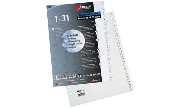 HETZEL Kunststoff-Register, Zahlen, A4, 1-20, PP, weiß