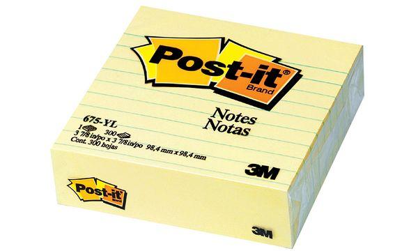 Post-it Haftnotizen XL, liniert, 100 x 100 mm, gelb