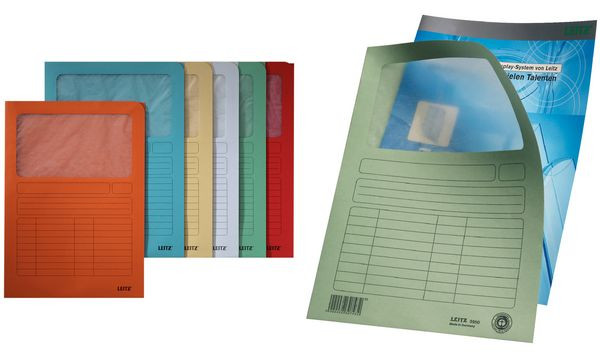 #100xLEITZ Sichtmappe, DIN A4, Karton, mit Sichfenster, ...