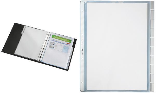 LEITZ Register-Prospekthülle, blanko, A4, PP, 10-teilig