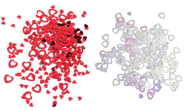 SUSY CARD Streuschmuck Herz, aus Folie, Farbe: weiß irisé