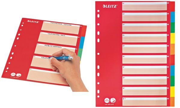 LEITZ Karton-Register, blanko, A4, 5-teilig, mehrfarbig