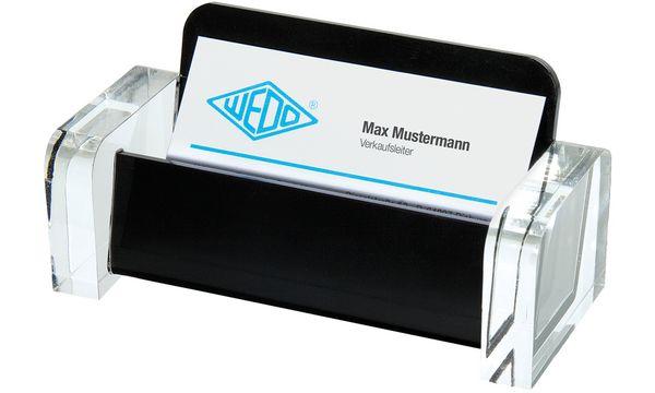 WEDO Visitenkartenhalter acryl exklusiv, glasklar/schwarz
