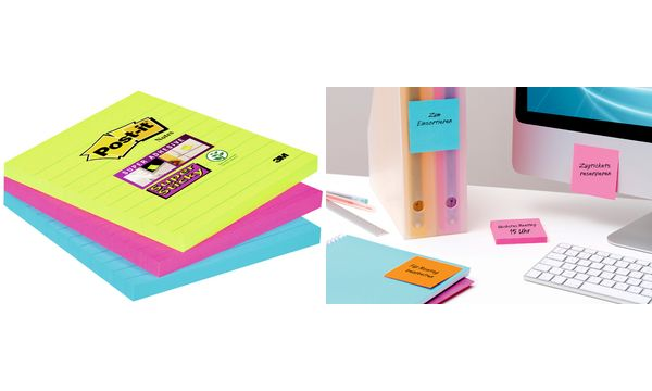 Post-it Haftnotizen Super Sticky Notes, 100x100 mm, 3-fa...