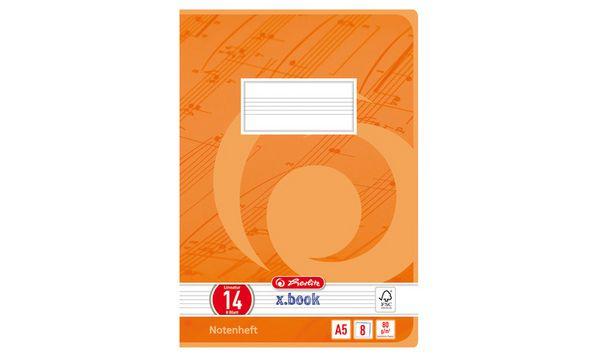 herlitz Notenheft x.book, DIN A5, Lineatur 14, 8 Blatt