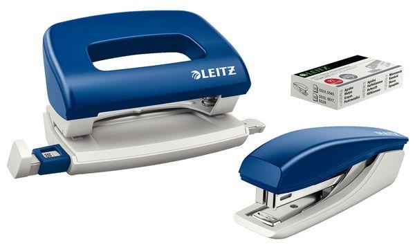LEITZ Heftgerät- & Locher-Set, blau