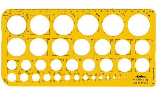 rotring Kreisschablone 1 - 36mm, Radien 6,10,16,20 mm