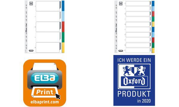 ELBA Kunststoff-Register, blanko, farbige Taben, 6-teilig