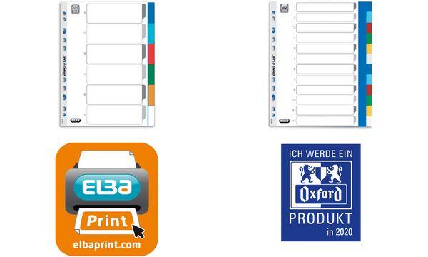 ELBA Kunststoff-Register, blanko, farbig, A4, 12-teilig,...