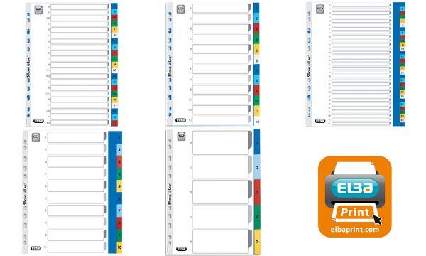 ELBA Kunststoff-Register, Zahlen, DIN A4, farbig, 10-teilig