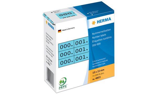HERMA Nummern-Etiketten 0-999, 10 x 22 mm, schwarz, drei...