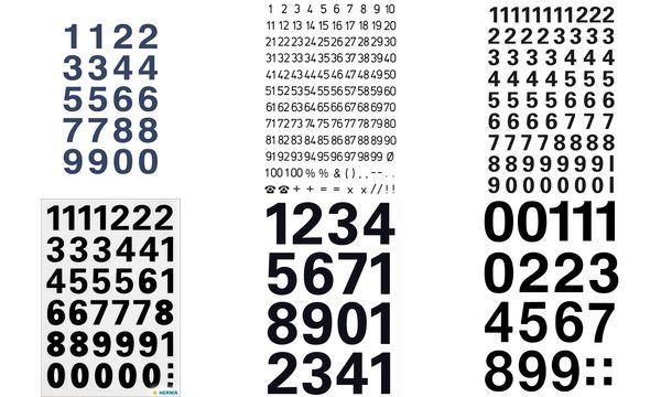 HERMA Zahlen-Sticker 1-100, Folie schwarz, Höhe: 5 mm