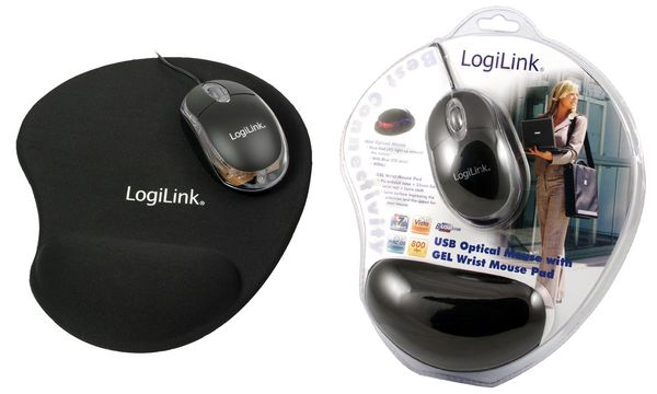 LogiLink Optische Mini Notebook Maus + Gel Maus Pad