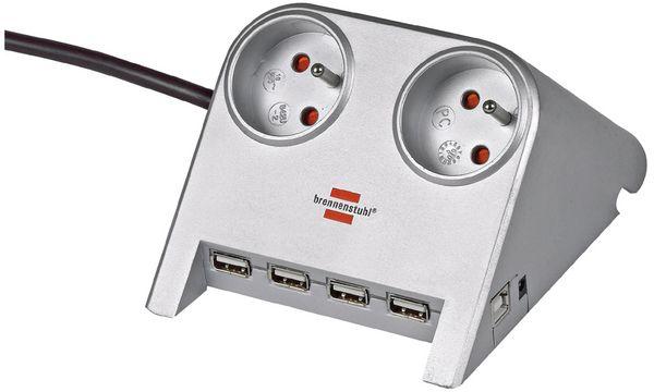 brennenstuhl Tischsteckdose Desktop-Power, 2-fach