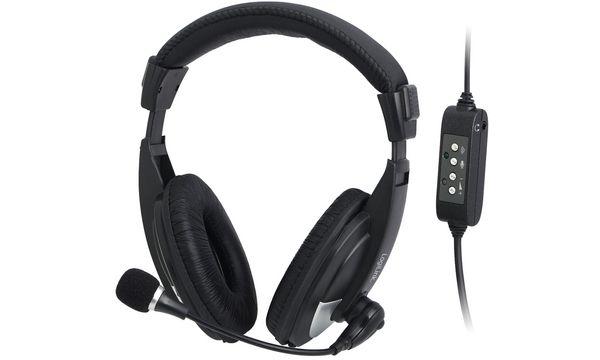 LogiLink USB-Headset, mit Mikrofon, schwarz