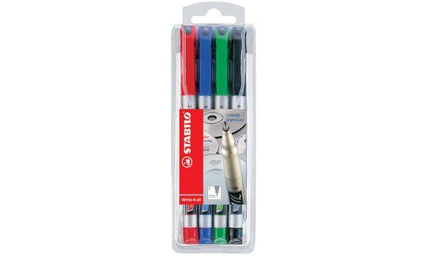 STABILO Permanent-Marker Write-4-all, M, 4er Kunststoff-...